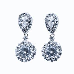 2ct Sterling Silver Women's Teardrop Earri…